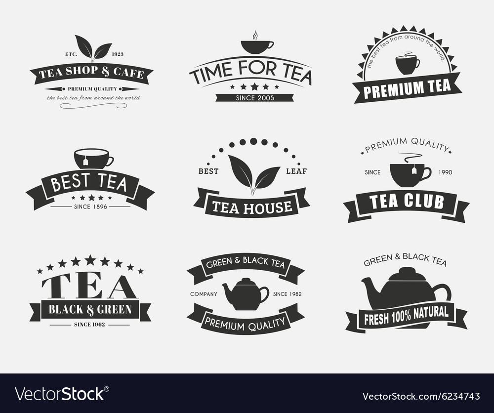 Set of tea logos with ribbons vector