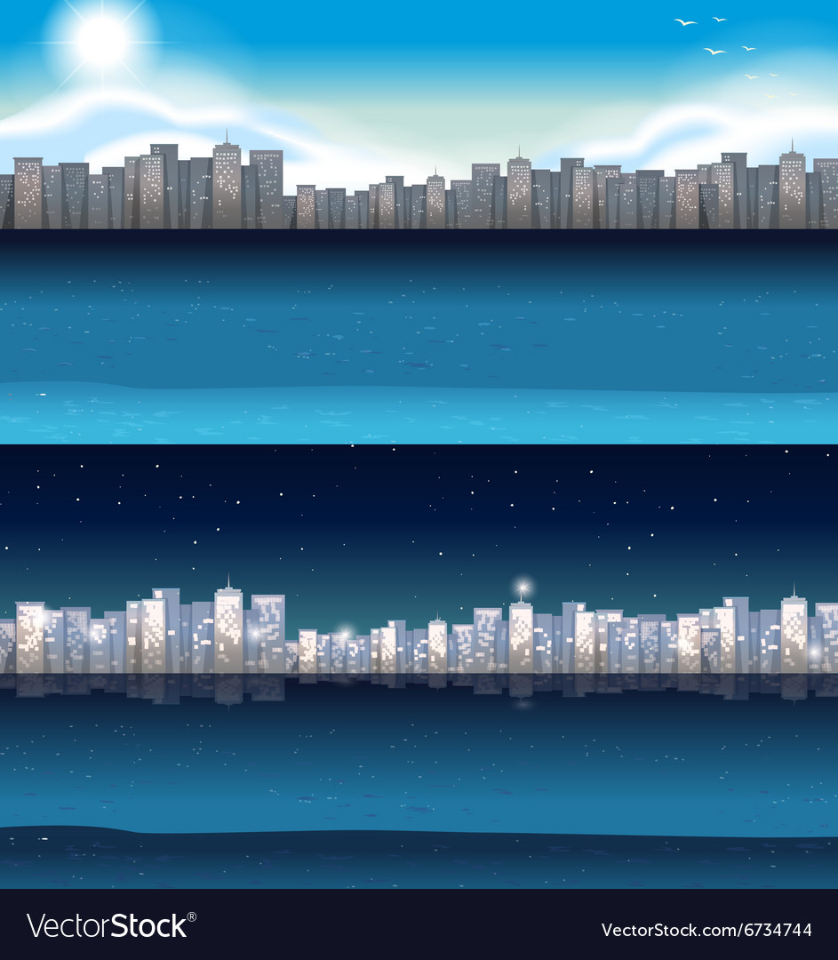 Buildings in city at day and night vector
