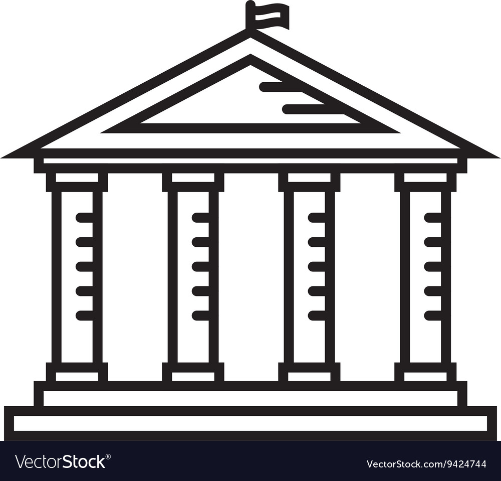 Education temple thin line icon vector