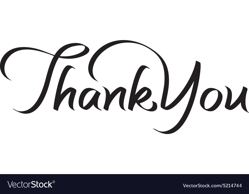 Thank you hand lettering text vector