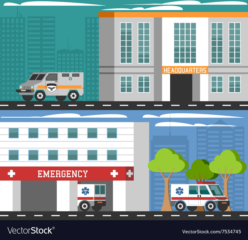 Emergency departments vehicles flat banners set vector