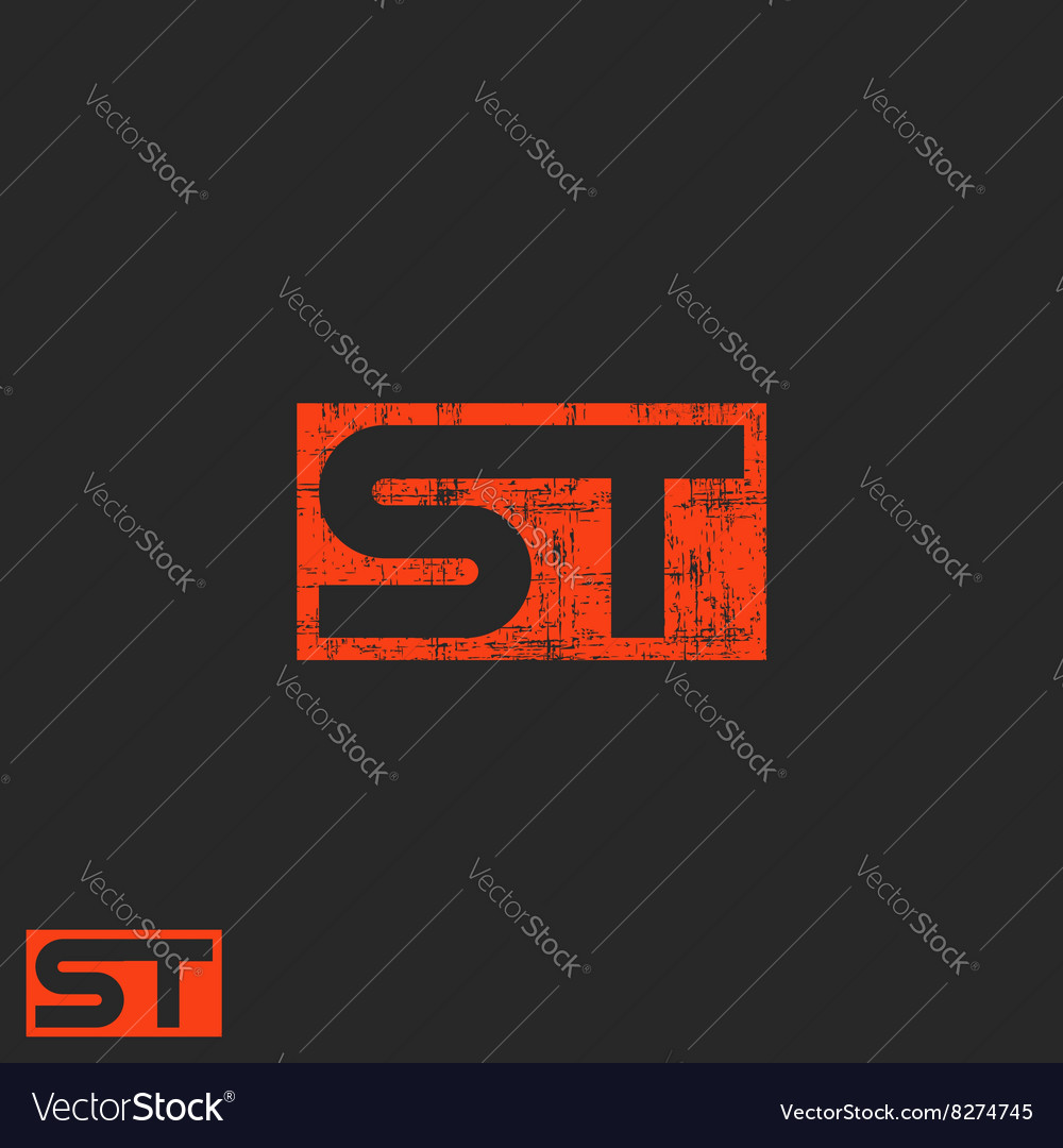 Initials st logo letters t s worn modern business vector