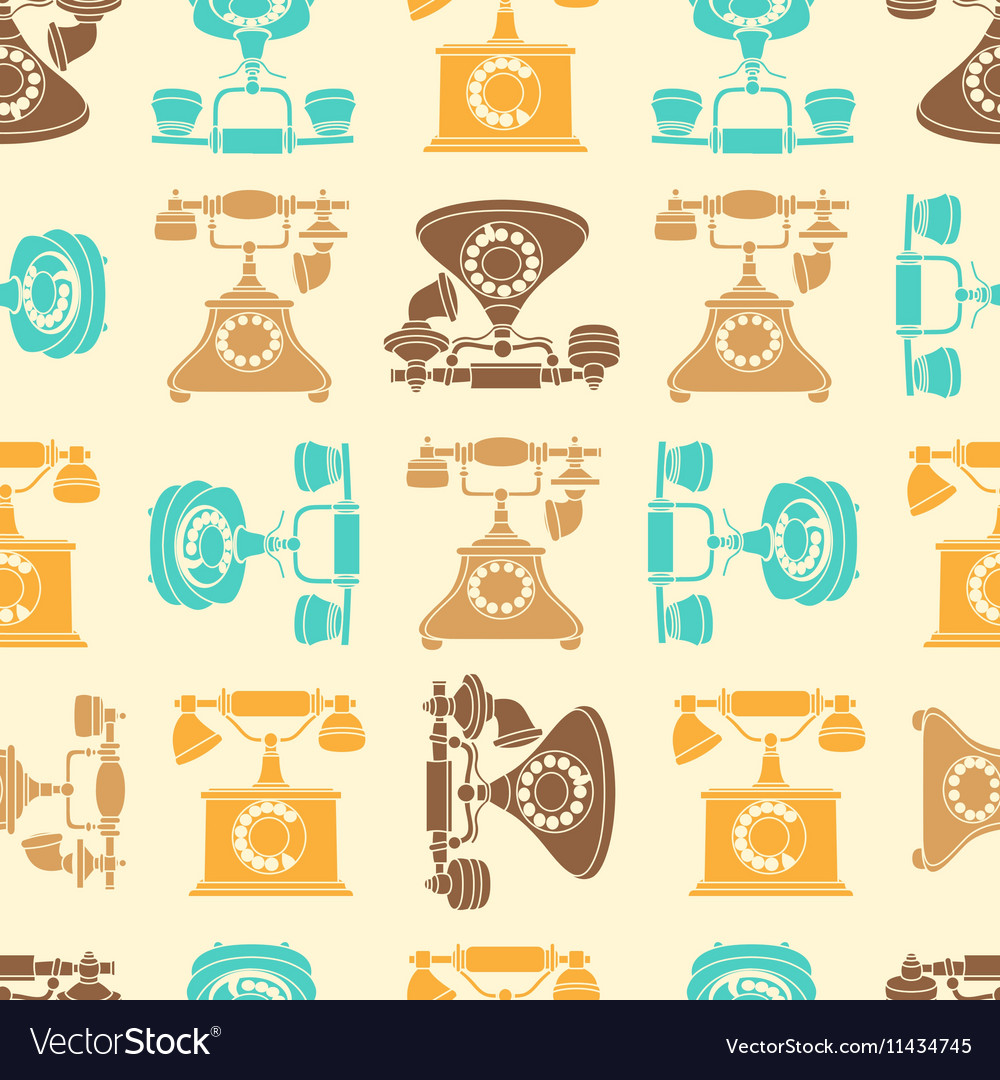 Seamless pattern with vintage phone in vector