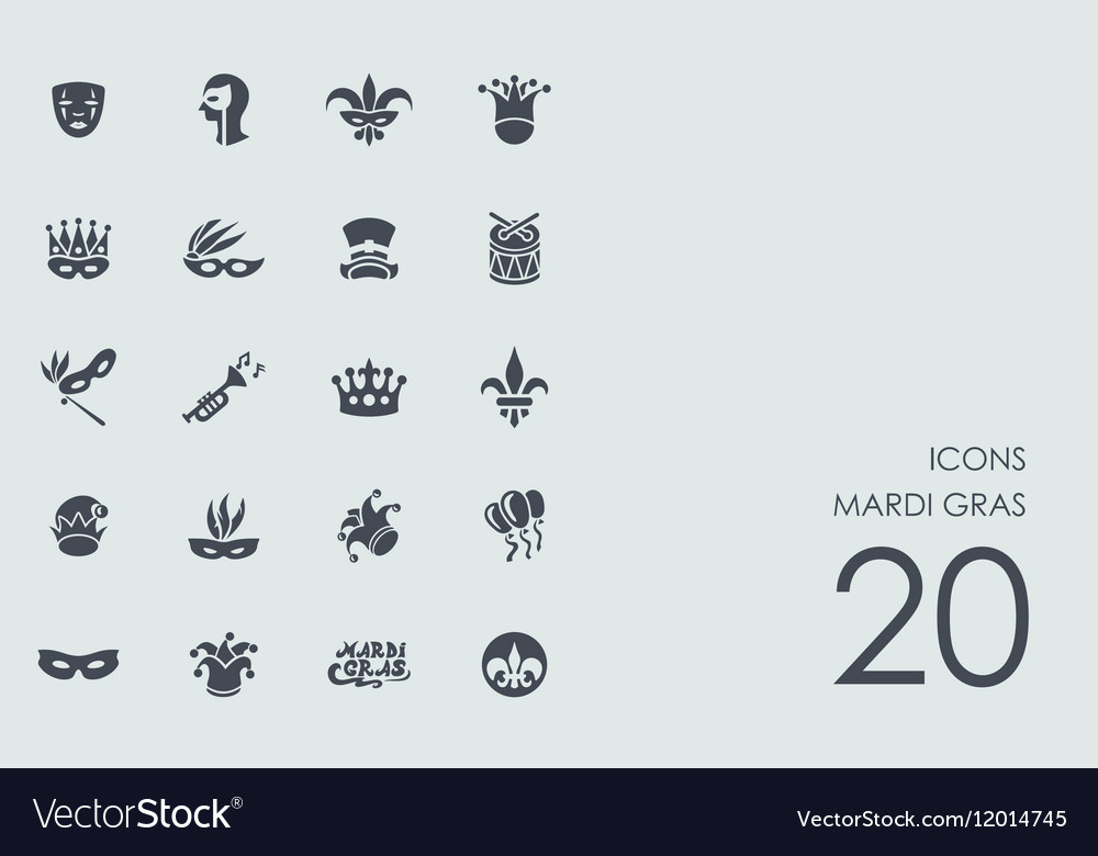 Set of mardi gras icons vector