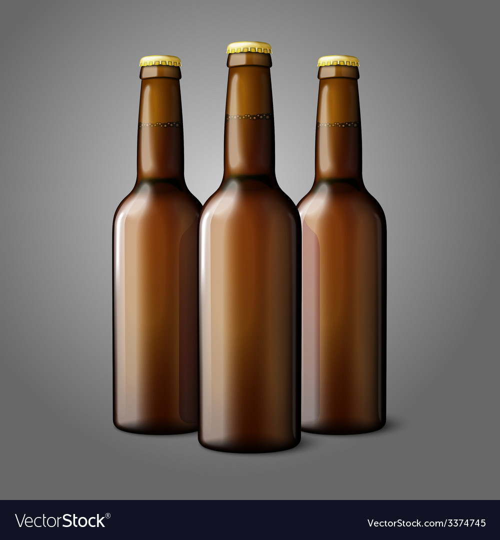 Three blank brown realistic beer bottles isolated vector