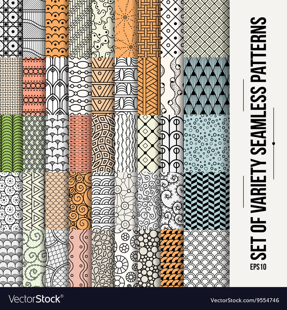 Set of seamless line patterns vector