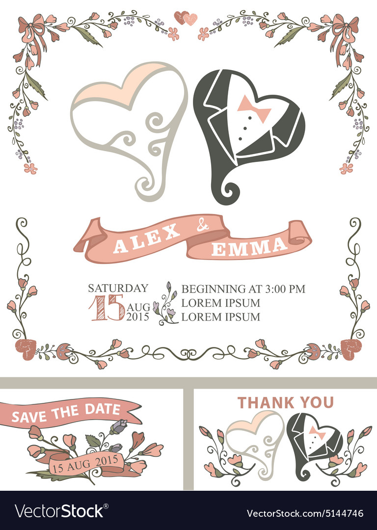Vintage wedding invitation setstylized hearts vector