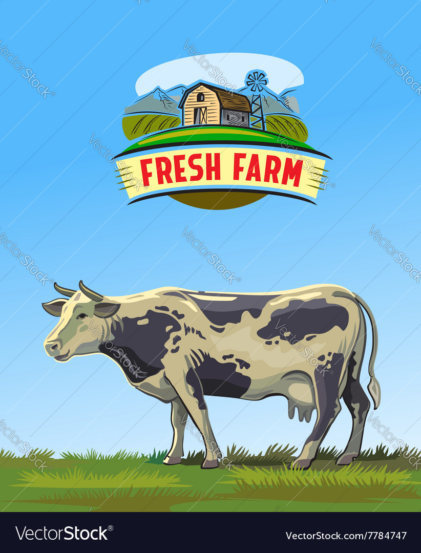 Cow and farm vector