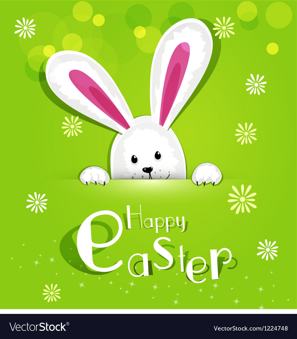 Easter bunny looking out a green background vector
