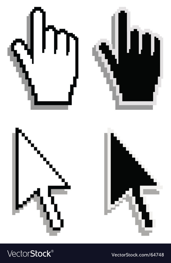 Hand and arrow cursor vector