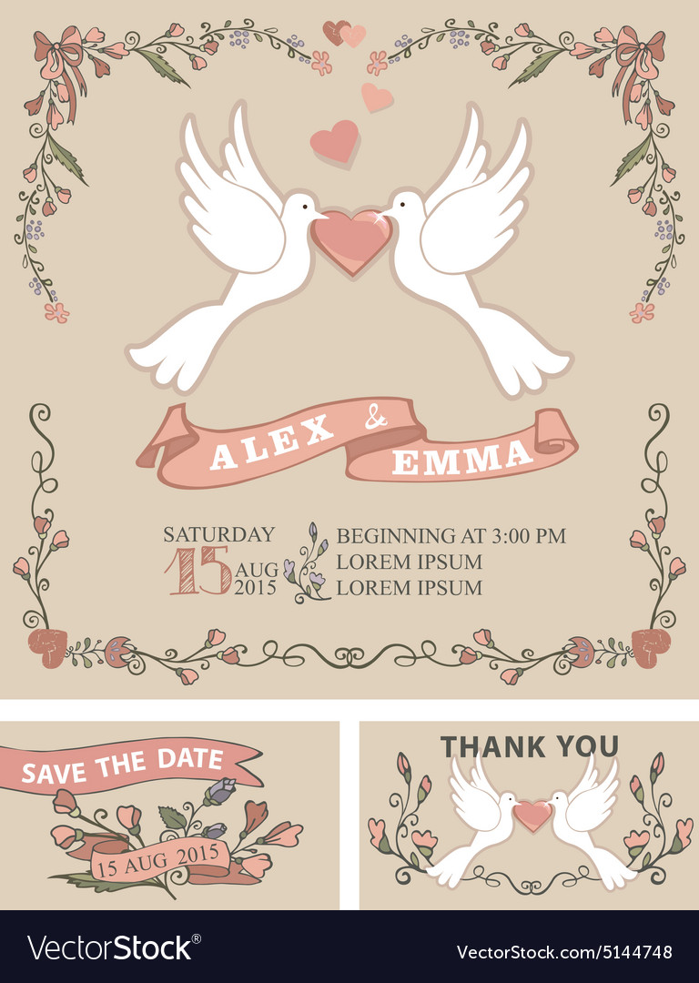Vintage wedding invitation setpigeonfloral decor vector