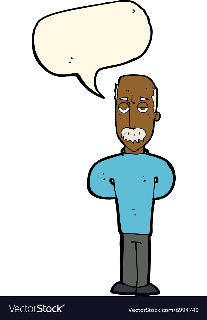 Cartoon annoyed balding man with speech bubble vector