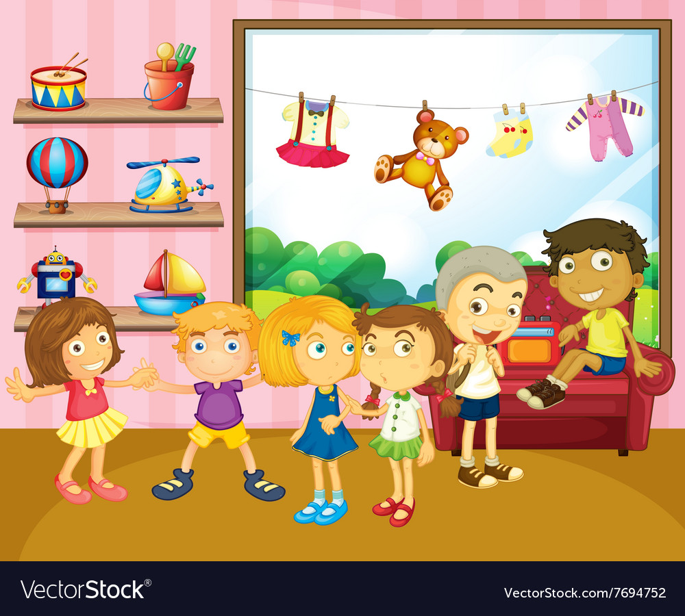 Children playing in the room vector