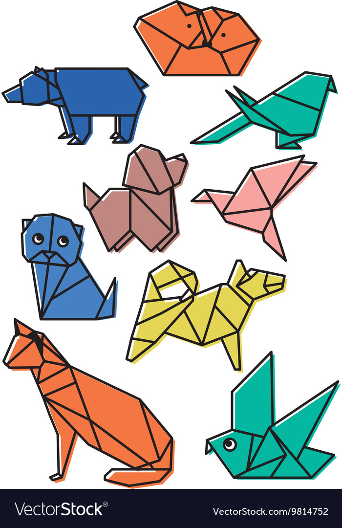 Cute origami animals pets set with dark lines and vector