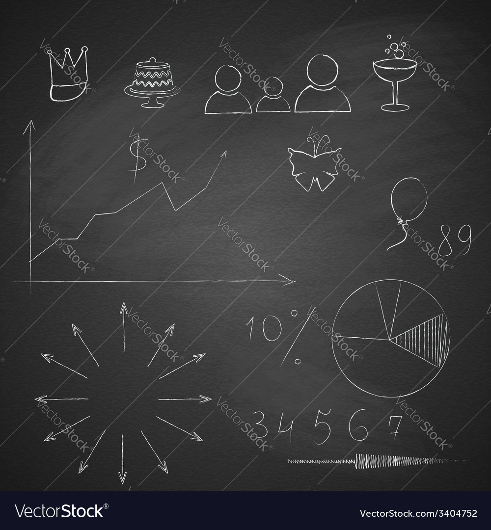 Elements of infographics made by hand with chalk vector