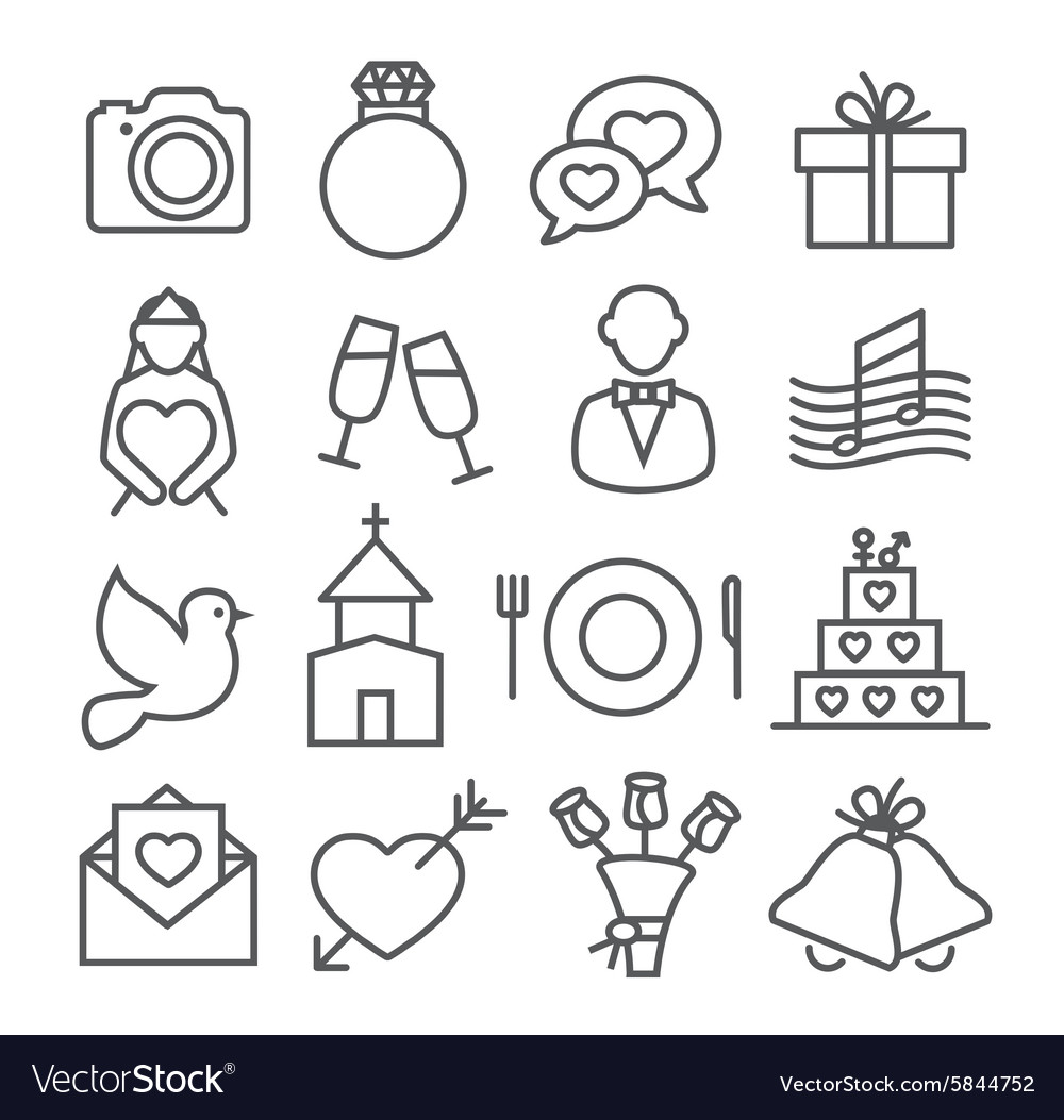 Wedding line icons vector
