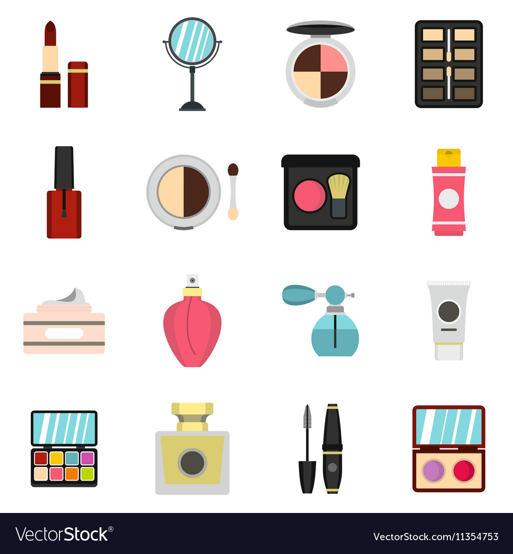 Cosmetic icons set flat style vector