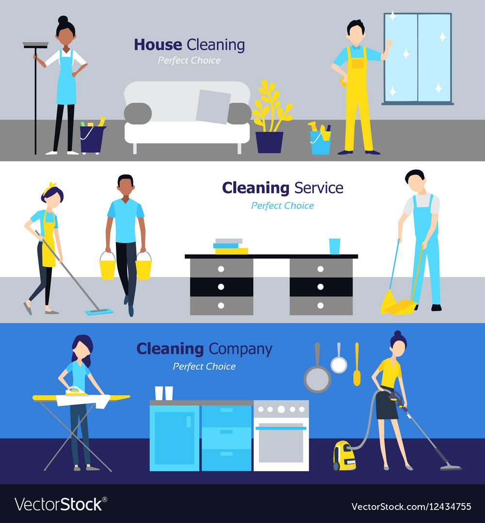 Professional cleaning horizontal banners vector