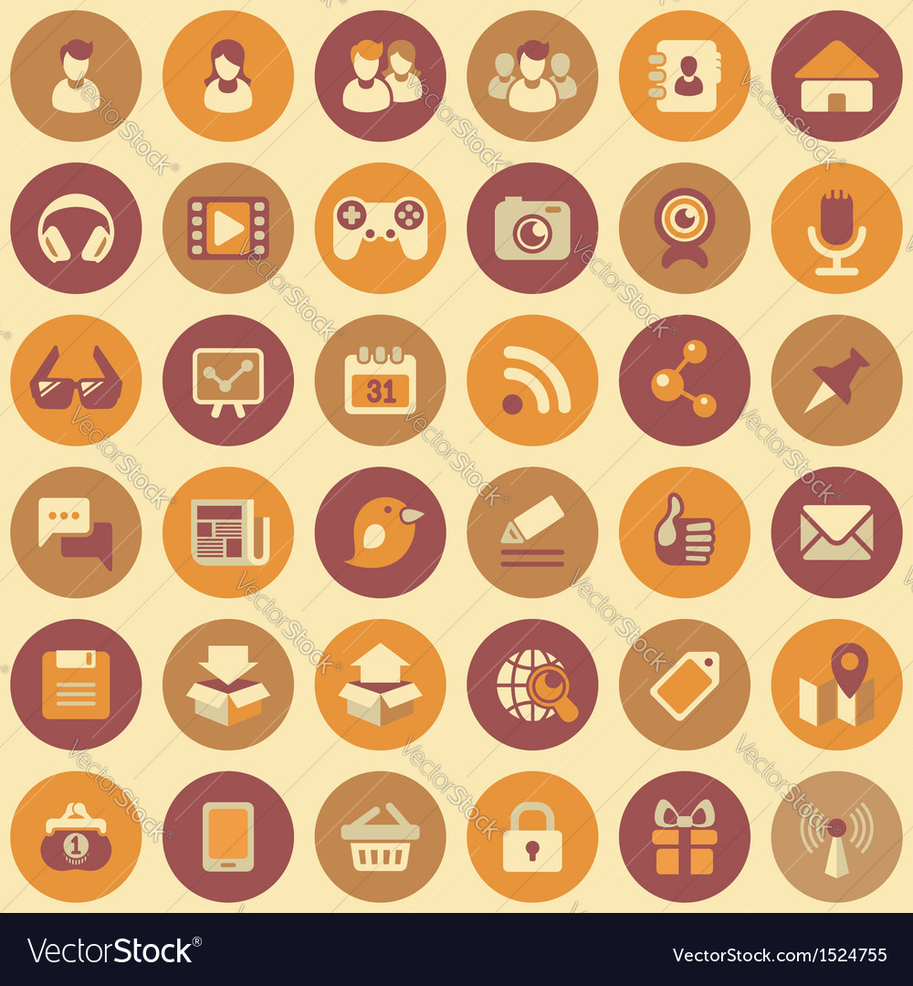 Social networking round icons set vector