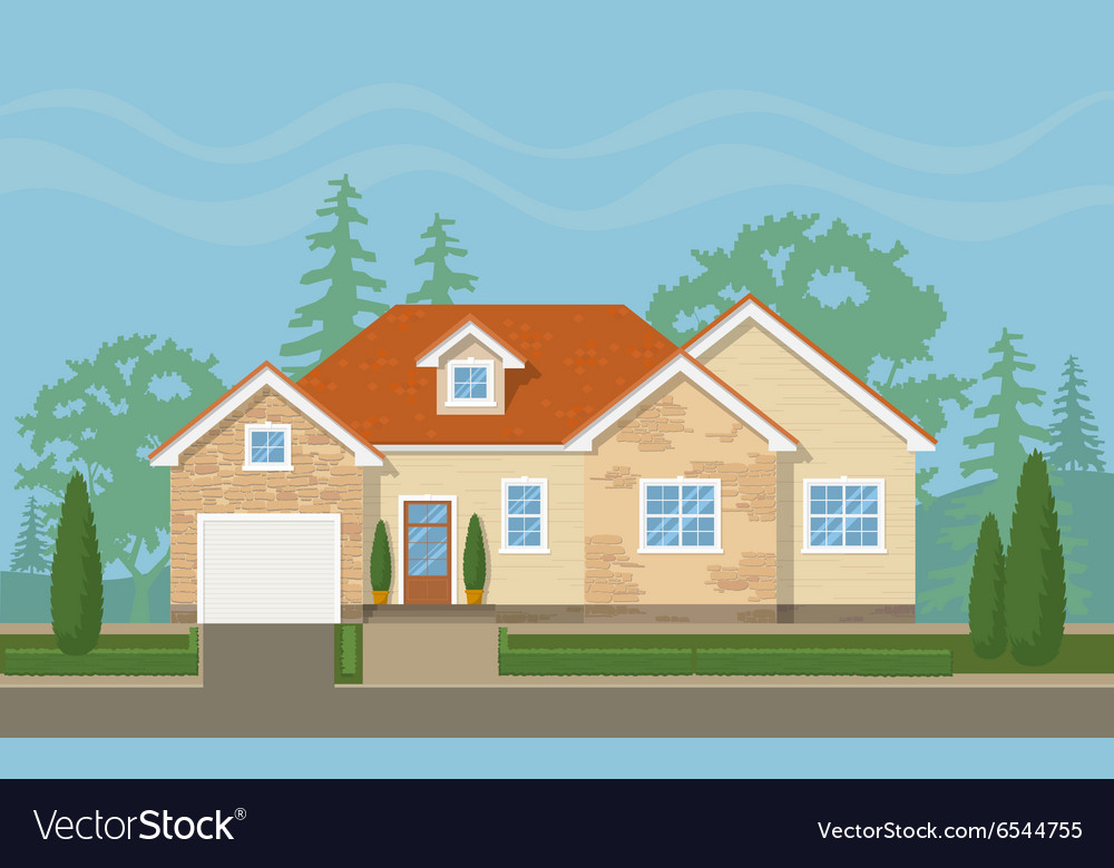 Traditional suburban house vector