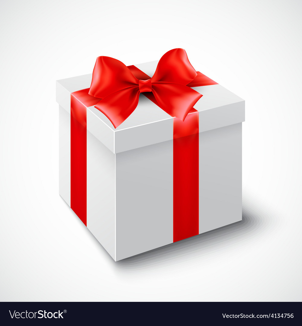 Gift box with red ribbon vector