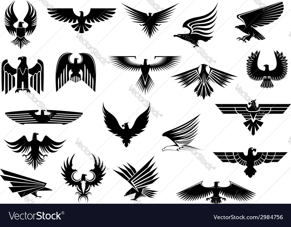 Heraldic eagles falcons and hawks set vector