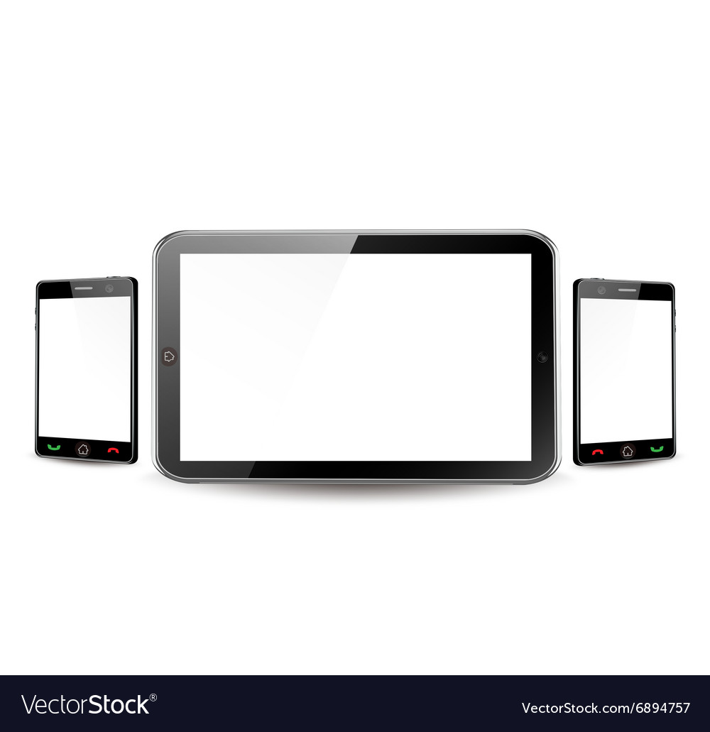 Blank tablet computer and smartphone vector