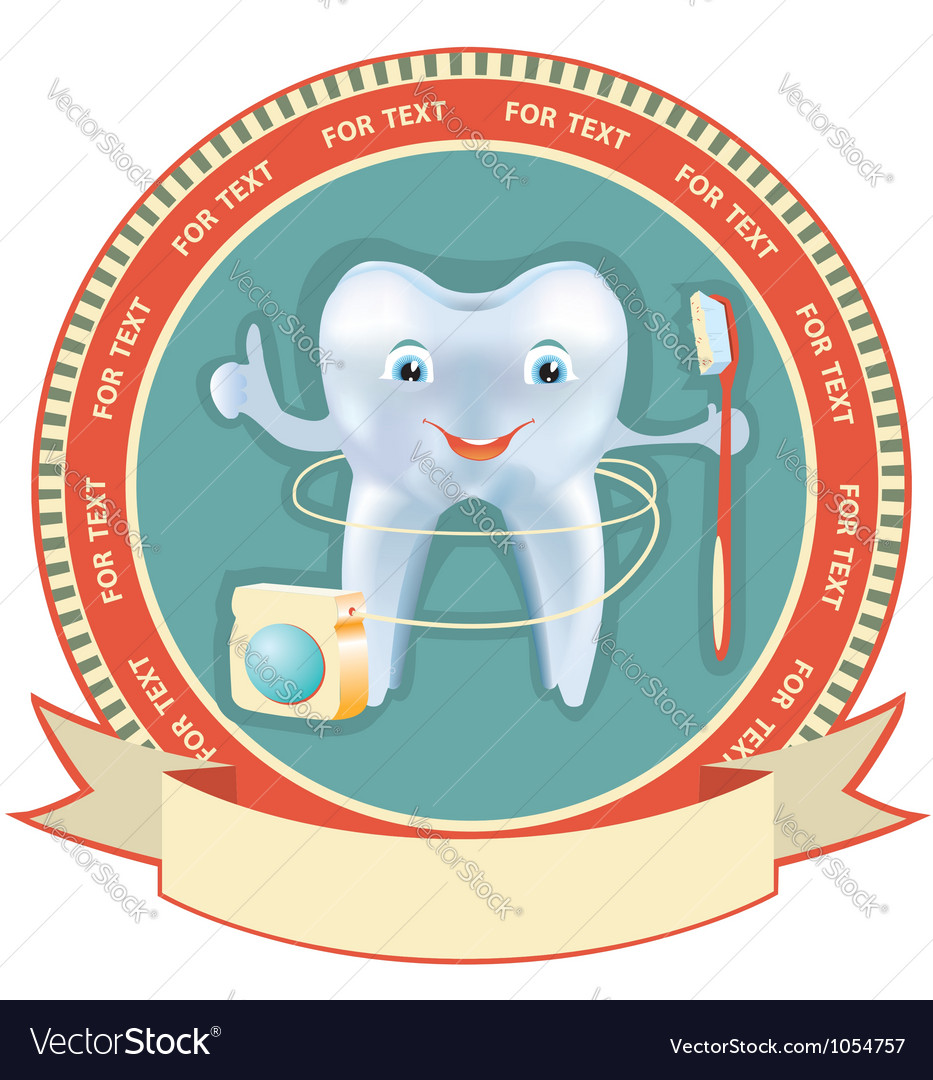 Tooth label set healthy symbol background vector