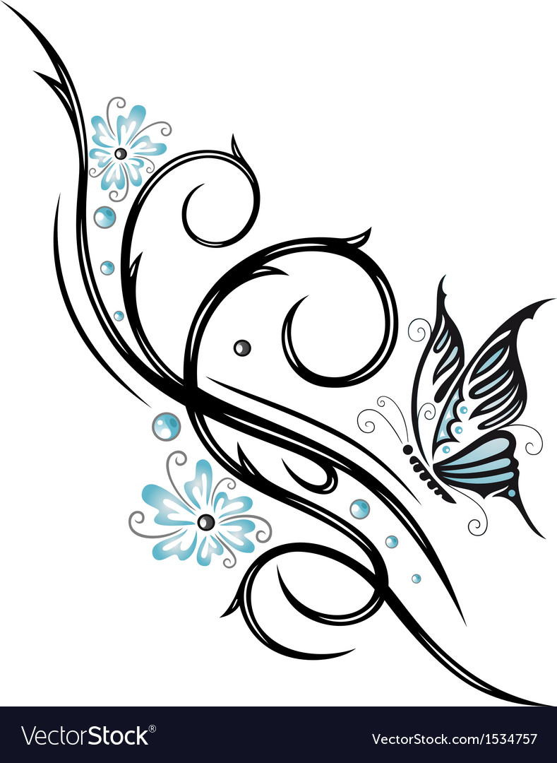 Tribal flower butterfly tattoo style vector