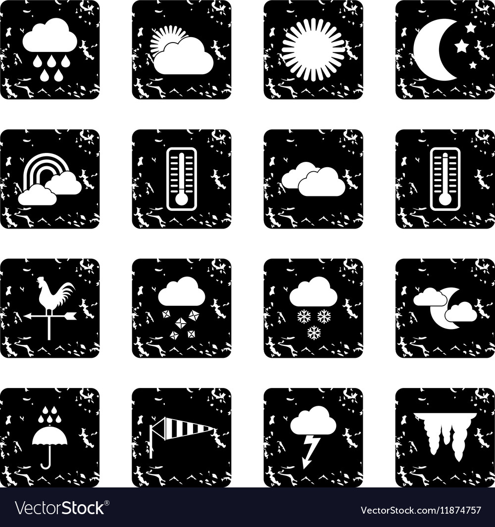 Weather set icons grunge style vector