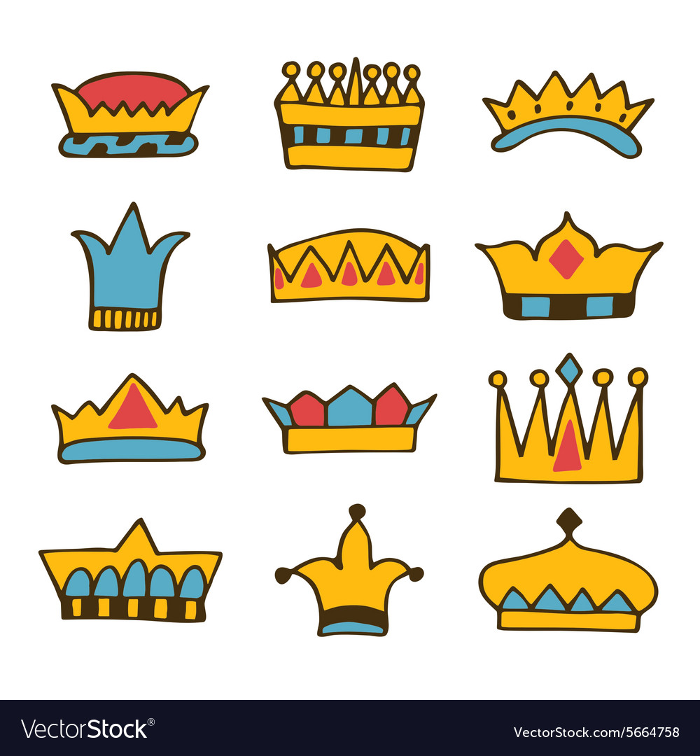 Doodle set of crowns hand drawn crowns vector