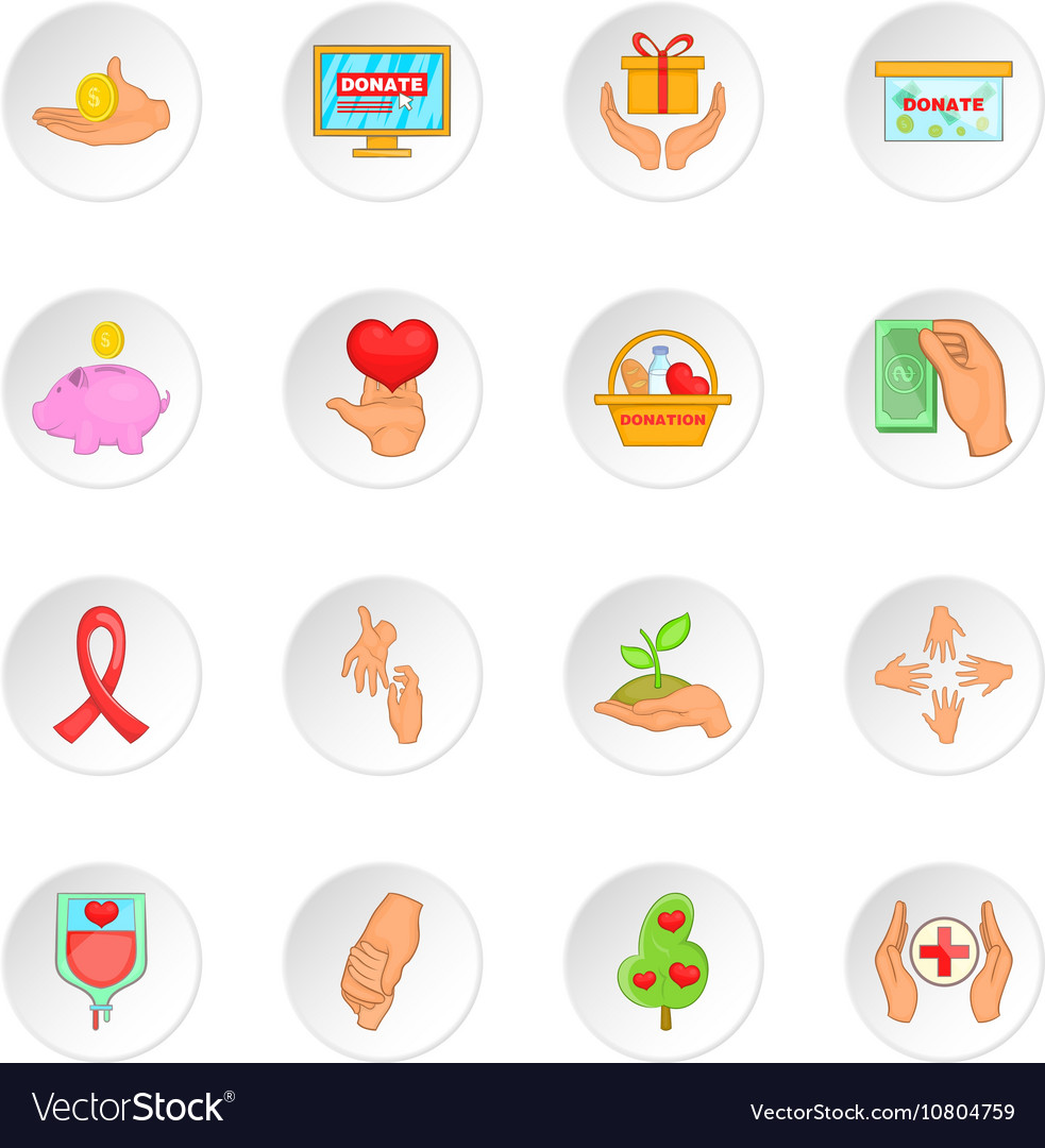 Charity organization icons set cartoon style vector