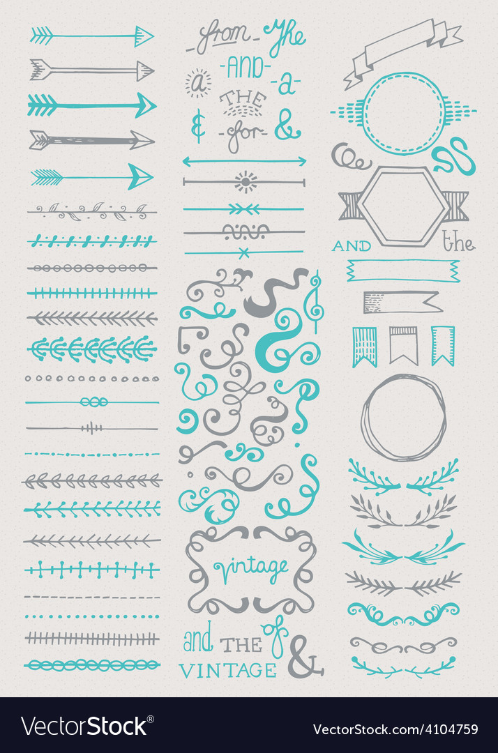 Hand drawn vintage elements collection vector