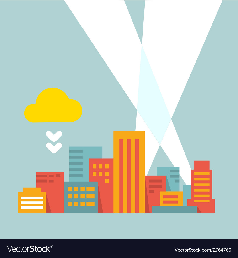 Flat style modern city in the bright rays of light vector
