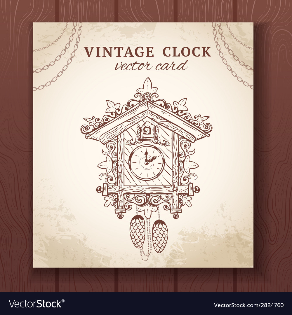 Old retro cuckoo clock card vector