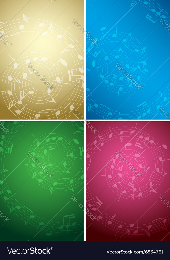 Bright music backgrounds with notes  color set vector