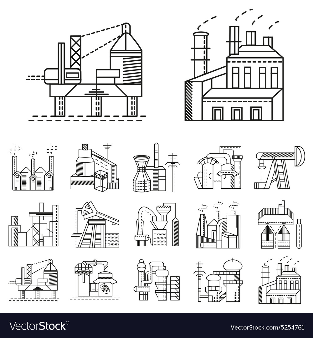 Flat line icons for factories vector