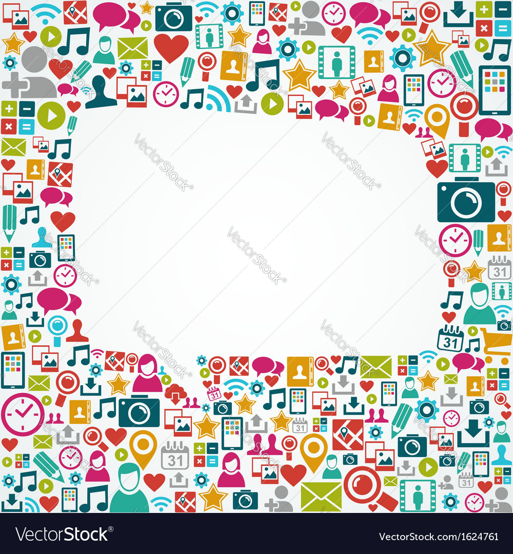 Social media icons white speech bubble shape eps10 vector