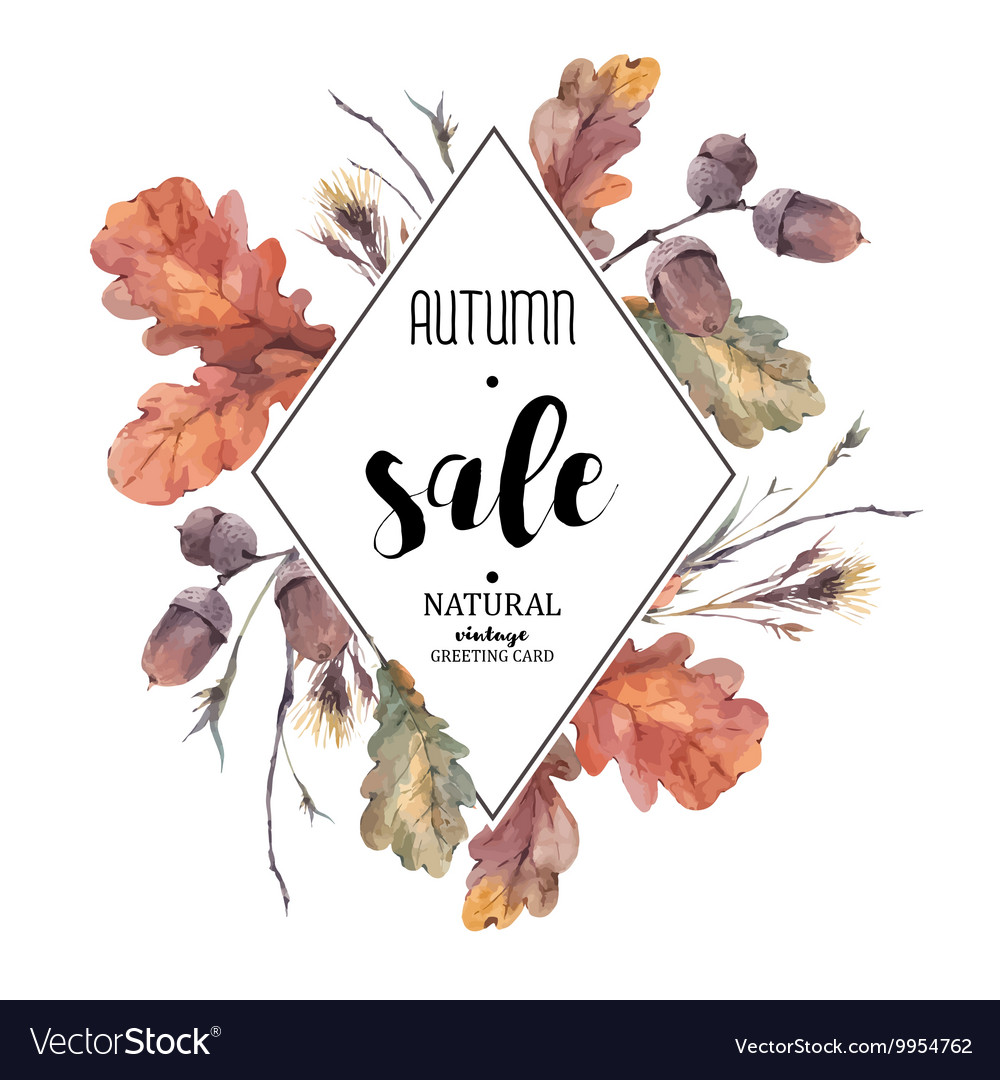 Autumn bouquet of twigs yellow oak leaves vector