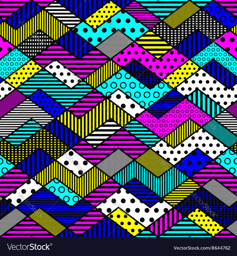 Geometric patchwork pattern in bright colors vector