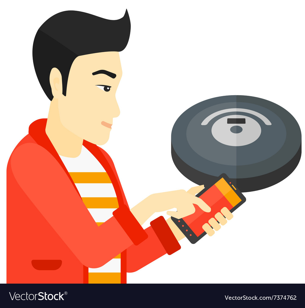 Man with robot vacuum cleaner vector