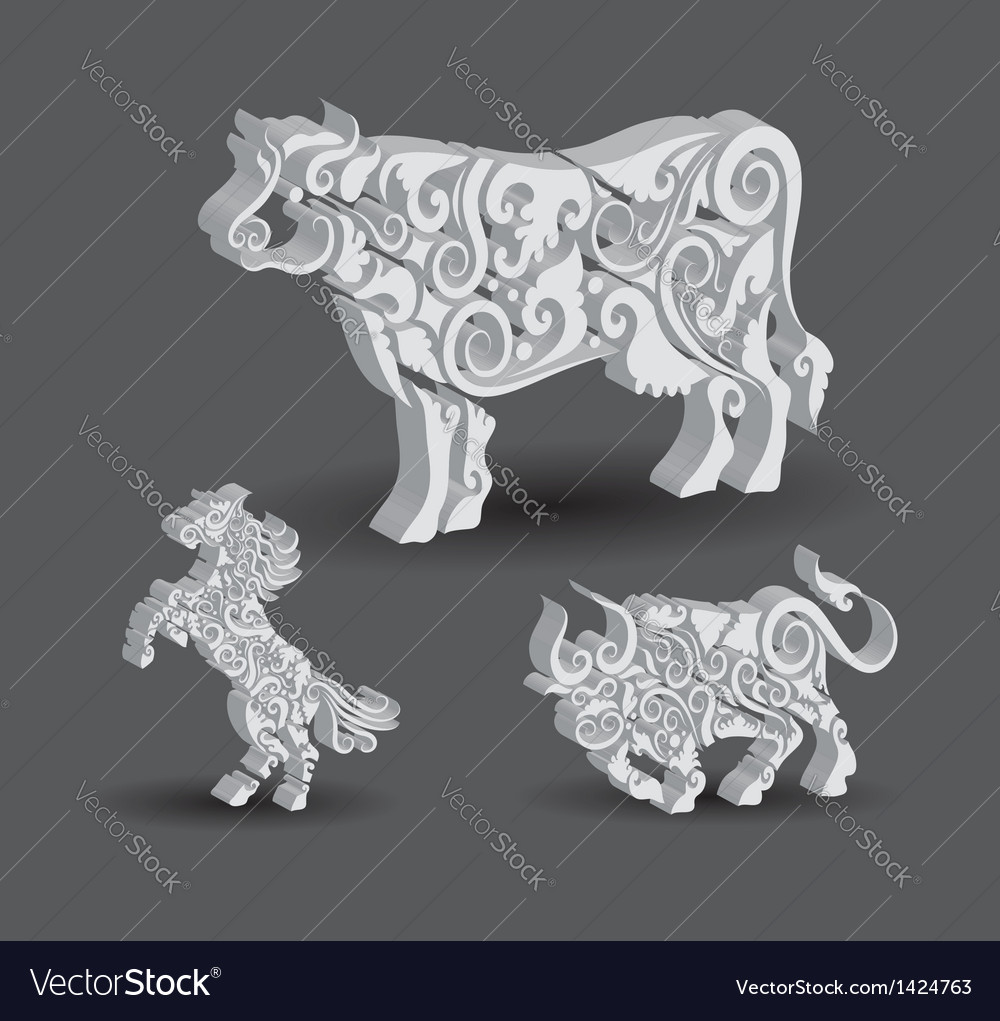 Cow bull horse floral decorations vector