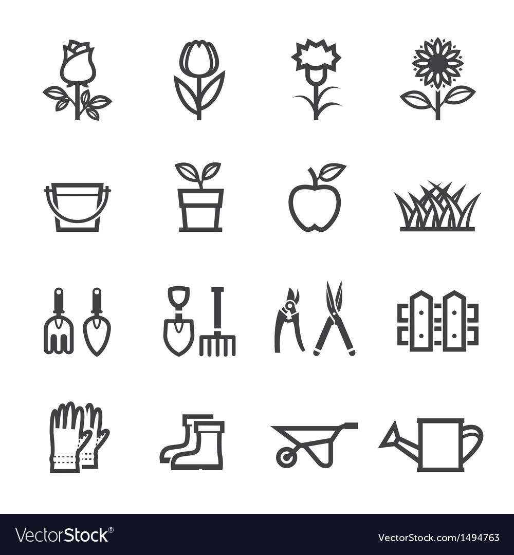 Flower and gardening tools icons vector