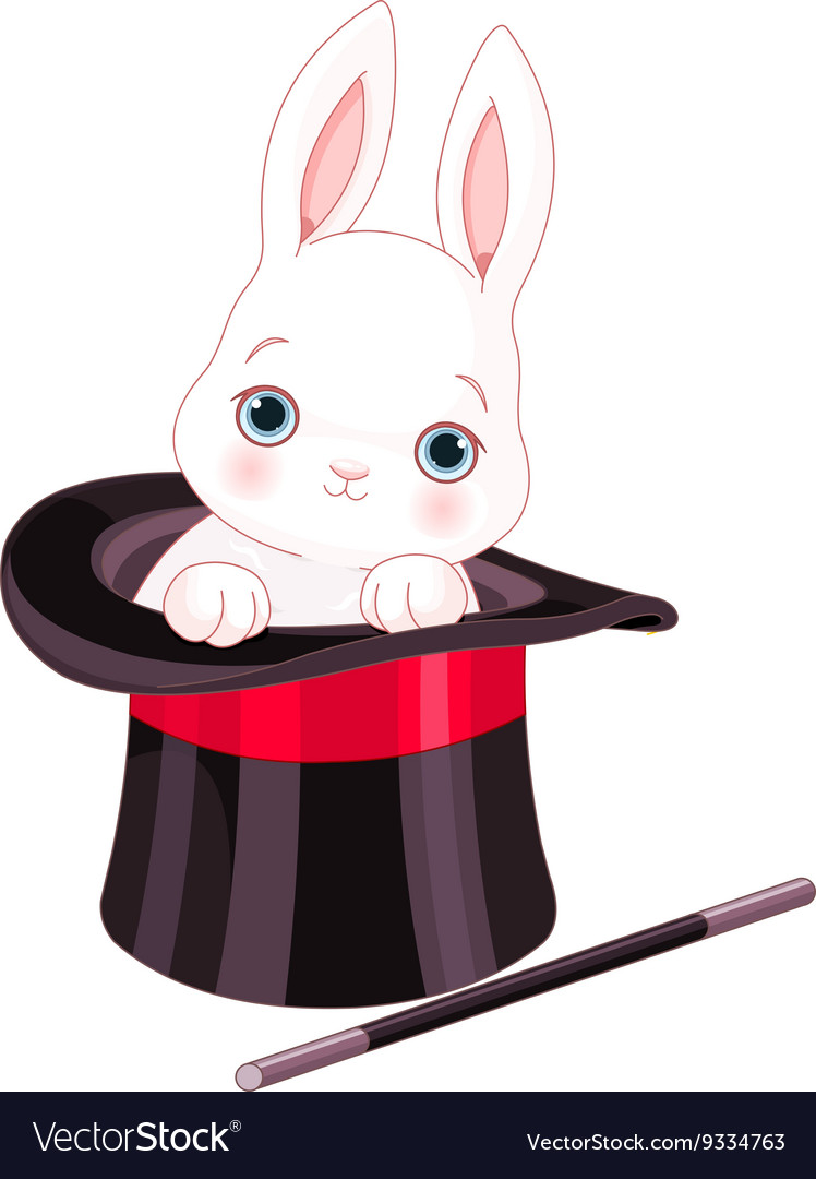 Rabbit in top hat magic trick vector