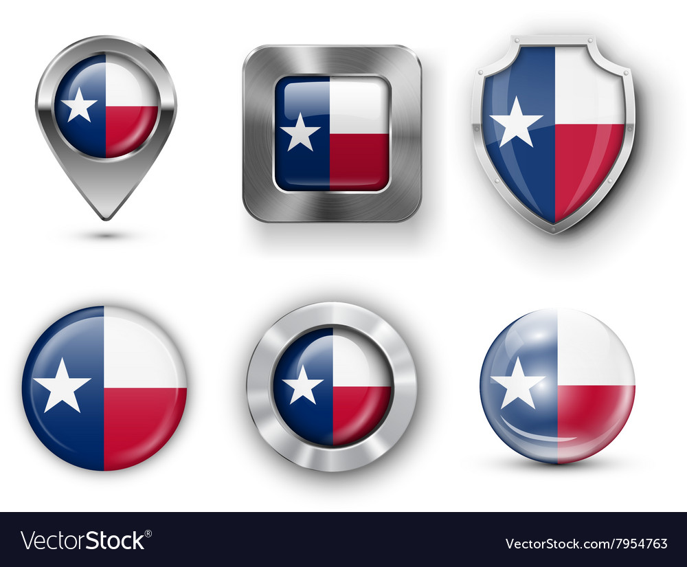 Usa state flag badges vector