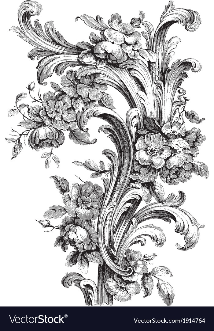 Acanthus and peony vector