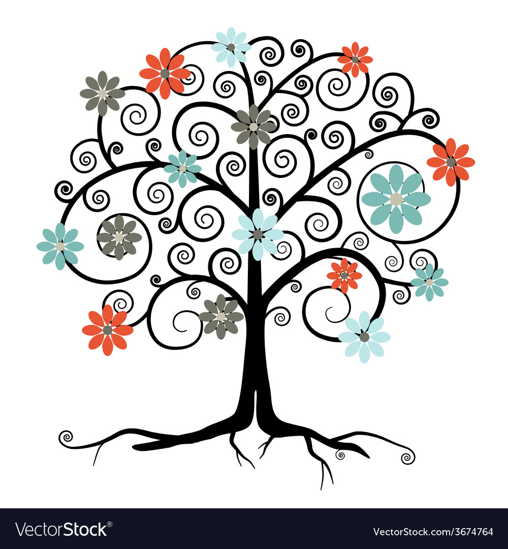 Tree in blossom isolated on white background vector
