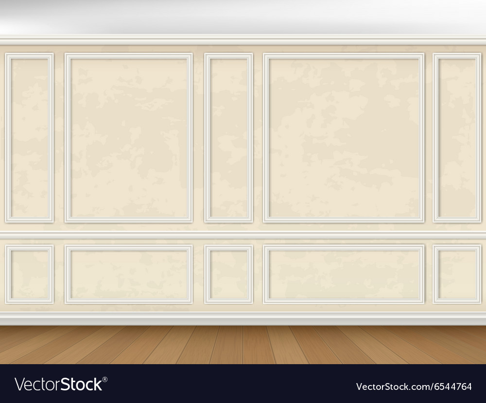 Wall decorated panel mouldings in classic style vector