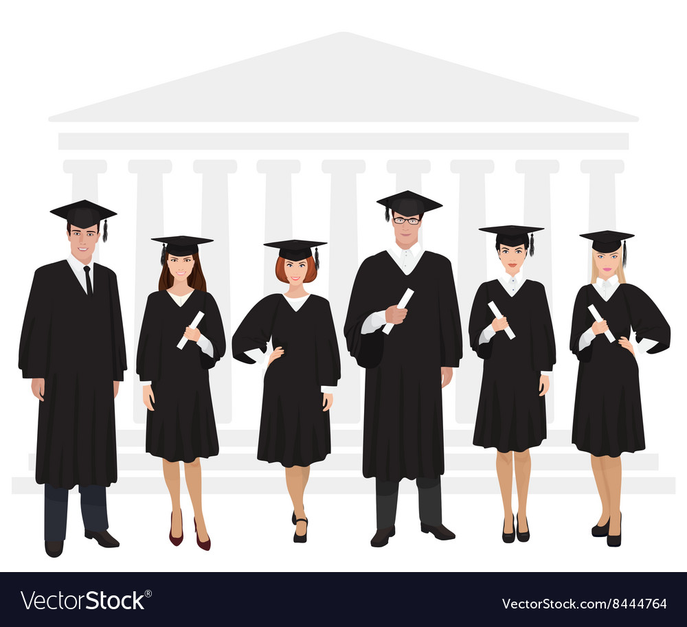 Young guys and girls graduates standing in front vector