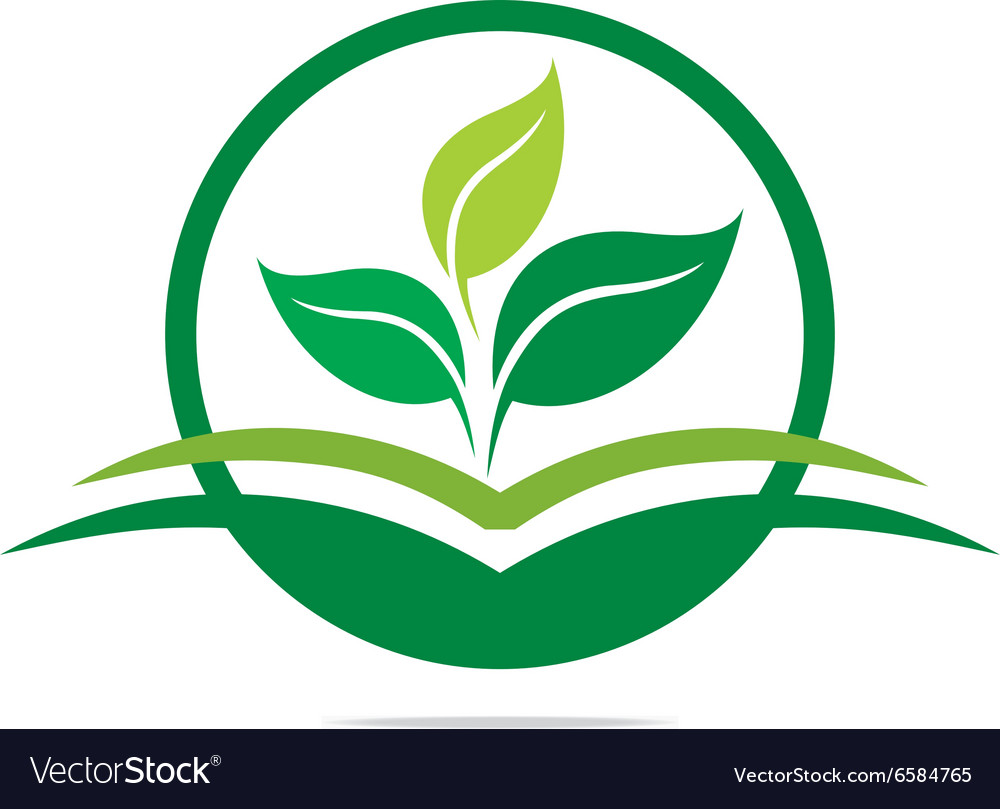 Logo leaves mashed drugs organic product icon ve vector